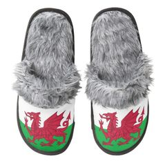 Welsh dragon flag slippers pair of fuzzy slippers