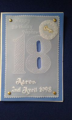 18th Birthday, Handmade  Card - Parchment Craft. Son, Daughter,nephew,neice,brother,sister,friend,