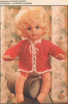 Pretty Poppet, pattern for First Love Doll outfit, from Your Family, May Doll Patterns, Clothing Patterns, Print Patterns, Knitting Ideas, Vintage Dolls, Crochet Clothes, Larger, Doll Clothes, First Love