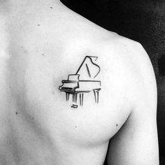 60 Piano Tattoos For Men - Music Instrument Ink Design Ideas, Tattoo, Small Simple Mens Sketched Piano Shoulder Blade Tattoos.