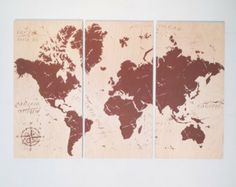 Vintage WORLD MAP Screen Print Wood Stain Painting Wall Art on solid BIRCH 3/4 inch thick