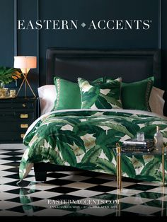 Bedroom Concept : Blue Wall + Emerald Comforter