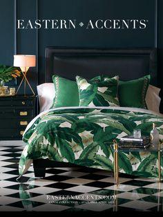 Bedroom Concept : Blue Wall + Emerald Comforter