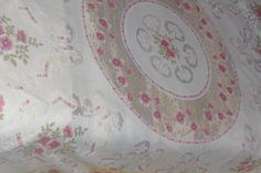 Retro Tablecloth approx 57 ins square pink flowers - shabby chic | eBay