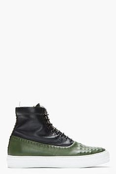 http://www.shopstyle.com: ALEXANDER MCQUEEN Green and navy leather covered stud sneakers