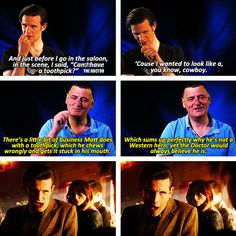 It is the lovely little moments like this that make Doctor Who such a brilliant show. I laughed so had before I finished reading this. Doctor Who, 11th Doctor, Geronimo, That Way, Just For You, Don't Blink, Matt Smith, David Tennant, Dr Who