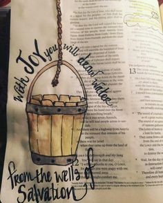 """Isaiah """"With JOY you will draw water from the wells of salvation. by mloubre Bible Prayers, Bible Scriptures, Bible Quotes, Isaiah Bible, Isaiah 12, Art Journaling, Bible Study Journal, Bible Drawing, Bible Doodling"""