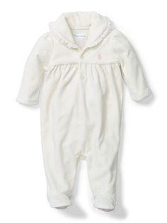 Baby Girl Cotton-Blend Velour Coverall - Baby Girl All-in-Ones - Ralph Lauren UK