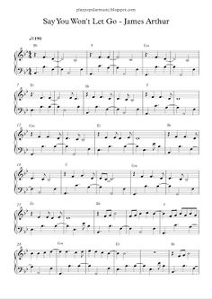 play popular music, Say You Won't Let Go - James Arthur, free piano sheet music