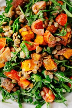 This lentil tahini sweet potato salad is bursting with flavor, texture, and plant-powered nutrition! Made with roasted sweet potatoes, juicy cherry tomatoes, lentils for protein, and a bold, mustardy tahini dressing. #vegan #vegetarian #glutenfree #plantbased Salad With Sweet Potato, Potato Salad, Leafy Salad, Winter Salad, Tahini Dressing, Arugula Salad, Salad Ingredients, Roasted Sweet Potatoes