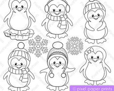 Sea Animals Digital Stamps Clipart by pixelpaperprints Etsy Colouring Pages, Coloring Books, Penguin Coloring Pages, Christmas Colors, Christmas Crafts, Christmas Clipart, Penguin Cakes, Digital Stamps, Digital Papers