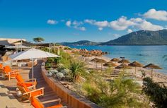 This contemporary private beach-front hotel is located on the island of Corsica, France.