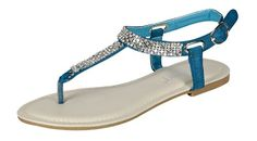 Summer 03 Gladiator Rhinestone Thong Flat Sandals Blue ** You can get more details here : Gladiator sandals
