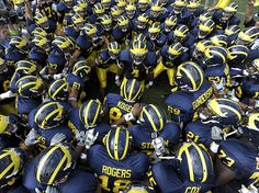Neat Wolverines picture. A sea of helmets.
