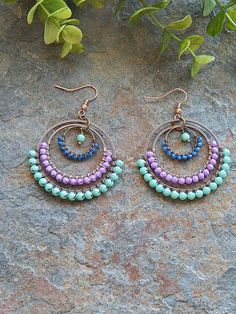 Earrings boho Beaded Hoop earrings - wire wrapped hoops in light turquoise blue and purple - b. Beaded Hoop earrings - wire wrapped hoops in light turquoise blue and purple - big gypsy earrings - boho style - colorful - bohemian jewelry Wire Wrapped Earrings, Beaded Earrings, Beaded Jewelry, Chandelier Earrings, Beaded Chandelier, Silver Earrings, Diy Earrings Wire, Cross Earrings, Jewellery