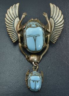 Antique EGYPTIAN REVIVAL Winged Scarab BROOCH with Turquoise Czech Glass Drop