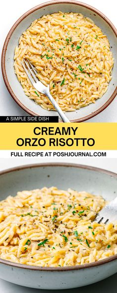 If you are looking for good orzo recipes to try, make this orzo risotto for dinner tonight. You can serve this orzo risotto as a side dish for meat or fish. Or, serve it as a main dish by adding delicious toppings of your choice, such as sauteed mushrooms or other veggies. #orzo #recipe #pasta #sidedish Recipes Using Pasta, Orzo Recipes, Recipe Pasta, Risotto Recipes, Side Dish Recipes, Easy Dinner Recipes, Cooking Recipes, Lunch Recipes, Dinner Ideas