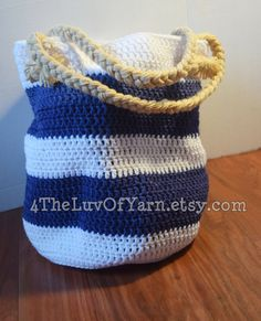 Blue Nautical Summer Bag Blue and White Striped by 4TheLuvOfYarn