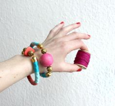 """Rope bangle """" Anais """"  ///  Turquoise, Pink and Coral"""