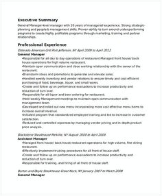 Restaurant Shift Manager Resume  Creative Restaurant General