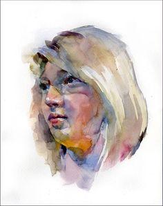 stan miller - blonde woman watercolor portrait light colors high key