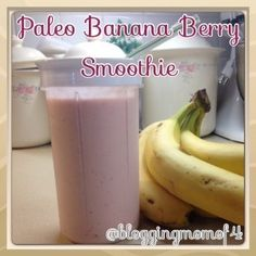Paleo Banana Berry Smoothie 1 cup Coconut Milk or Almond Milk 1 banana 1/4 cup frozen berries (more or less to taste)