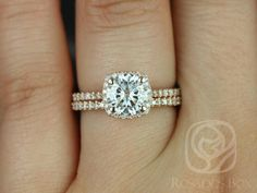 Samina 7mm 14kt Rose Gold FB Moissanite and Diamond Cushion Halo Classic Wedding Set (Other metals and stones available)
