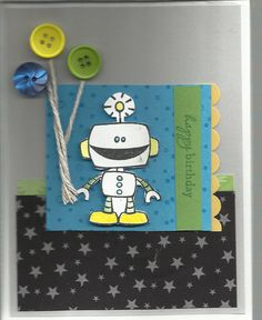 A fun robot childs Birthday card