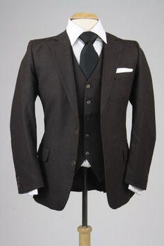 d564955c70e Vintage 80s Brown Pinstripe Flannel Wool 3 Piece Indie Vested Suits 38 R