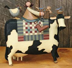 Girl on Large Cow With Rooster, Cat and Bird Figurine – Everyday Folk Art Figurines & Collectibles – Williraye Studio $50.00
