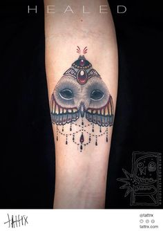 Chris Rigoni Tattooer - Healed Owl Moth for Kim