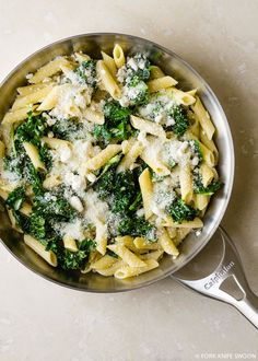 Kale, Spinach and Goat Cheese Pasta recipe from forkknifeswoon.com