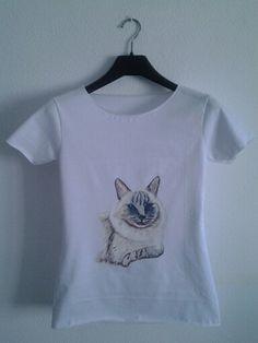 "Camisetas pintadas a mano ""Gato Siames """