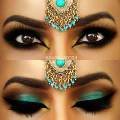 Teal Arabic Makeup by This eye makeup uses dark and teal eye shadow, accentuated by heavy black liner and false eyelashes. Try this gorgeous exotic look today. See the product list here Exotisches Makeup, Teal Eye Makeup, Exotic Makeup, Indian Makeup, Costume Makeup, Love Makeup, Bridal Makeup, Beauty Makeup, Makeup Looks