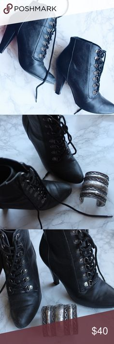 Black Lace Up Booties Little metal detail, perfect for fall. Nonslip girl bottoms can be worn in snow/rain. Nasty Gal Shoes Ankle Boots & Booties