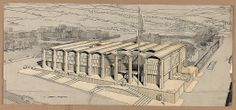 [Embassy of the United States, Amman, Jordan. Bird's-eye view perspective. Rendering] / Paul Rudolph '54.
