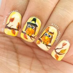 30 Creative Thanksgiving Nails Designs That Will Inspire You All Through The Fal… – Nail De… 30 Kreative Thanksgiving-Nägel-Designs, die Sie auf der ganzen Welt inspirieren … – Nail Design ,, Fall Nail Art Designs, Halloween Nail Designs, Halloween Nail Art, Cute Nail Designs, Owl Nail Art, Owl Nails, Minion Nails, Thanksgiving Nail Designs, Thanksgiving Nails