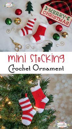 Mini Christmas Stocking Crochet Ornament.