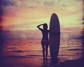 Sunset beach photo - 4x4 sunset beach photo print featuring a surf girl with surfboard at a pink and purple sunset