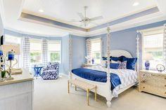 Cape Cod Bedroom, Blue Bedroom, Master Bedroom, Blue Rooms, Cottage Design, House Design, Bedroom Sitting Room, Sitting Rooms, Cape Cod Cottage