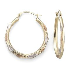 14K Gold Tri-Color Aztec Hoop Earrings - jcpenney #MayIsGoldMonth
