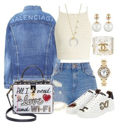 """Untitled #126"" by chichimia on Polyvore featuring Balenciaga, Frame, River Island, SHE MADE ME, Dolce&Gabbana, Chanel, Bloomingdale's and Cartier"