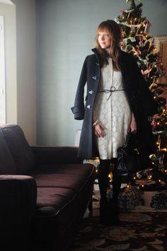 Holiday white dress, black tights, black cord bow belt