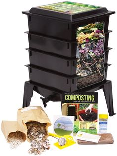 Worm Factory 360 Worm Composting Bin Bonus What Can Red Wigglers Eat Infographic Refrigerator Magnet Black Vermicomposting Container System Live Worm Farm Starter Kit for Kids Adults *** Check out this great product. Compost Tea, Garden Compost, Worm Composting, Composting Methods, Garden Soil, Garden Gear, Garden Seeds, Vegetable Garden, Garden Landscaping