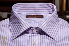 Pink And Blue Regimental Stripe Broadcloth Dress Shirt With Double Button Bevelled Cufs