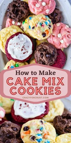 Cake Mix Cookie Recipes, Cake Mix Cookies, Cookies Et Biscuits, Dessert Recipes, Dessert Ideas, Fun Desserts, Sugar Cookies, How To Make Cookies, How To Make Cake