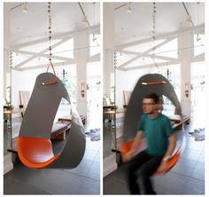 Suspended powder coated metal and leather swinging chair for indoors or outdoors