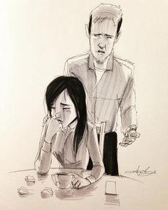#ink #inktober #inktober2016 #drawing #KurtChangArt #art #illustration #lighting #relationship #trouble #sadness #distance