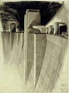 """Crest of Boulder Dam""Drawing by Hugh Ferriss Ferriss strikes again."