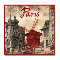 Dessous de plat Paris Moulin Rouge déco rétro vintage - Provence Arômes Tendance sud Decoupage Vintage, Vintage Art, Monuments, Moulin Rouge Paris, Deco Retro, Montmartre Paris, Belle Epoque, Vintage Postcards, Paris France
